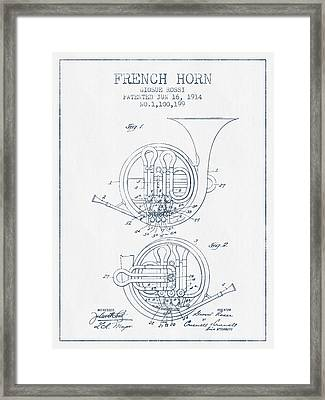 French Horn Patent From 1914 - Blue Ink Framed Print by Aged Pixel