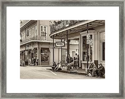 French Quarter - Hangin' Out Sepia Framed Print by Steve Harrington