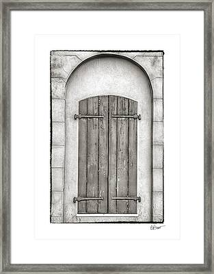 French Quarter Shutters In Black And White Framed Print by Brenda Bryant