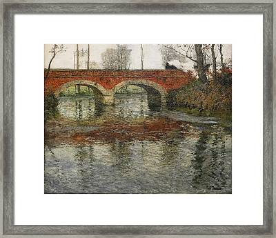 French River Landscape With A Stone Bridge Framed Print by Frits Thaulow
