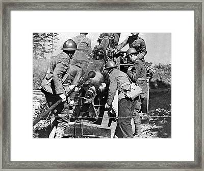 French Soldiers Fire Their 155mm Artlillery Piece At German Posi Framed Print by Underwood Archives