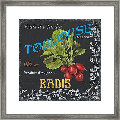 French Veggie Labels 3 Framed Print by Debbie DeWitt