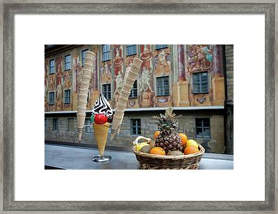 Frescos Decorate The Walls Of Old Town Framed Print by Dave Bartruff
