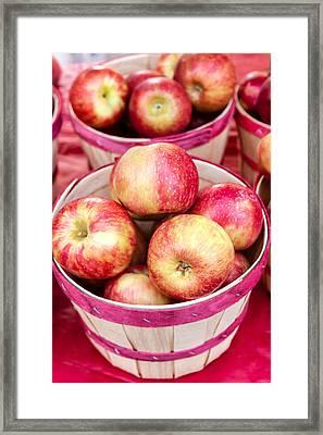 Fresh Apples In Buschel Baskets At Farmers Market Framed Print by Teri Virbickis