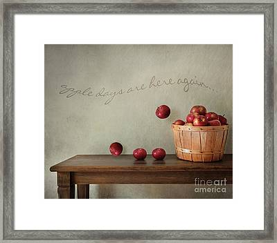 Fresh Apples On Wooden Table Framed Print by Sandra Cunningham