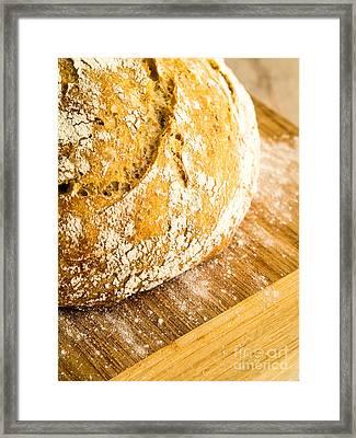 Fresh Baked Loaf Of Artisan Bread Framed Print by Edward Fielding