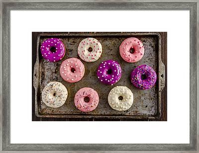 Fresh Baked Vanilla Bean Iced Donuts Framed Print by Teri Virbickis
