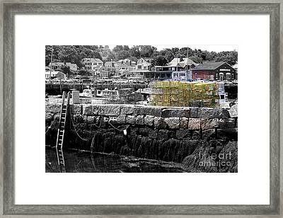 Yellow Lobster Pots Framed Print by Eunice Miller