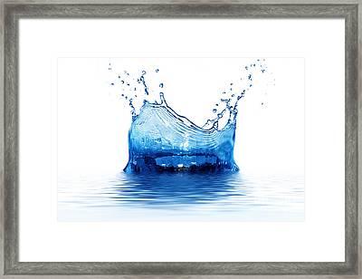 Fresh Clean Water Splash In Blue Framed Print by Michal Bednarek