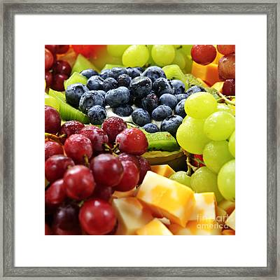 Fresh Fruits And Cheese Framed Print by Elena Elisseeva