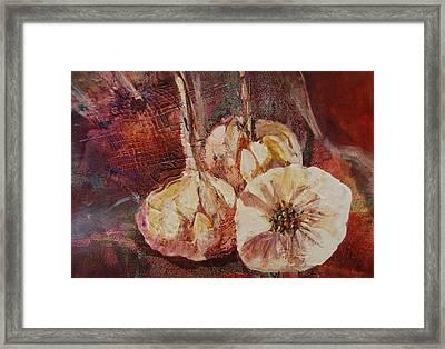 Fresh Garlic Framed Print by Nancy Gebhardt