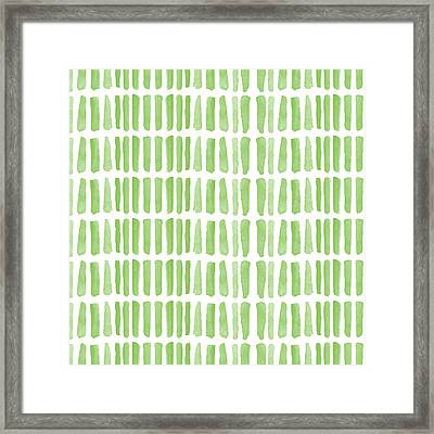 Fresh Grass- Abstract Pattern Painting Framed Print by Linda Woods