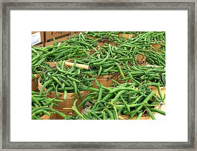 Fresh Green Beans In Baskets Framed Print by Teri Virbickis