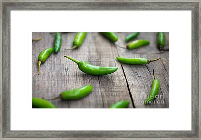 Fresh Jalapenos Chili Pepper Framed Print by Aged Pixel