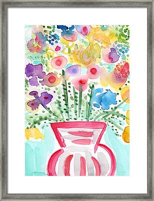 Fresh Picked Flowers- Contemporary Watercolor Painting Framed Print by Linda Woods