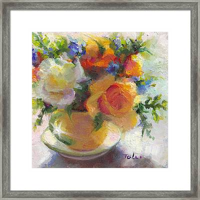 Fresh - Roses In Teacup Framed Print by Talya Johnson