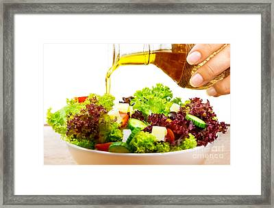Fresh Salad With Olive Oil Framed Print by Anna Omelchenko