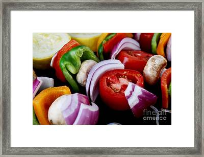 Fresh Veggie Kabobs On The Grill Framed Print by Peggy Hughes