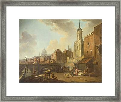 Fresh Wharf Near London Bridge, C.1762 Oil On Canvas Framed Print by William Marlow
