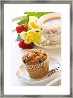 Freshly Baked Muffin With Tea Framed Print by Amanda And Christopher Elwell