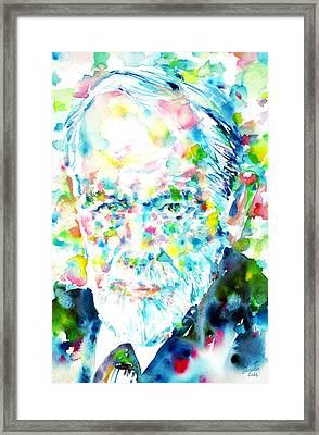 Sigmund Freud - Watercolor Portrait.1 Framed Print by Fabrizio Cassetta