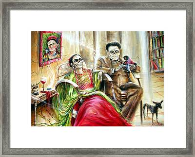 Frida And Diego With Pet Monkey Framed Print by Heather Calderon