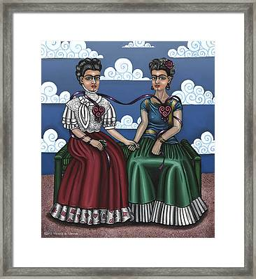 Frida Beside Myself Framed Print by Victoria De Almeida