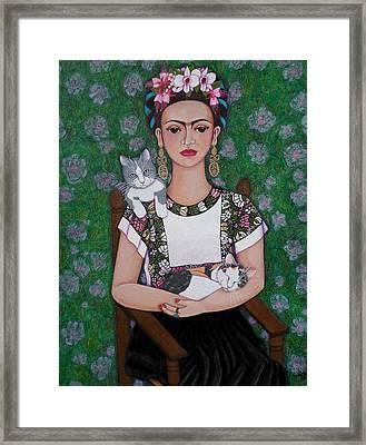 Frida Cat Lover  Framed Print by Madalena Lobao-Tello