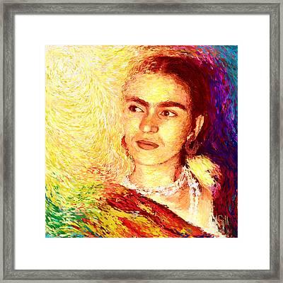 Frida In Color Of Joy Framed Print by Shubnum Gill