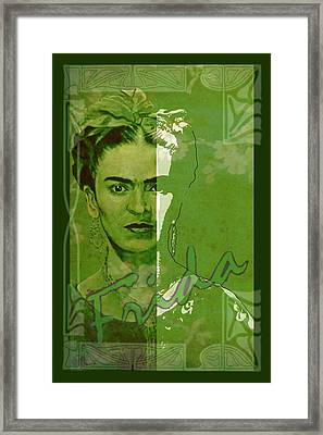 Frida Kahlo - Between Worlds - Green Framed Print by Richard Tito