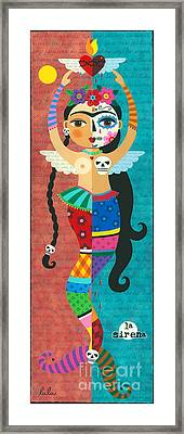 Frida Kahlo Mermaid Angel With Flaming Heart Framed Print by LuLu Mypinkturtle