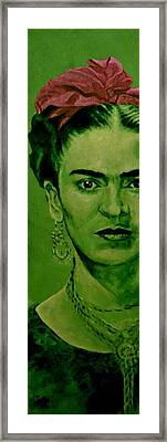 Frida Kahlo - Red Bow Framed Print by Richard Tito