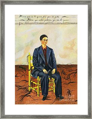 Frida Kahlo Self-portrait With Cropped Hair Autorretrato Con Pelo Cortado Framed Print by Pg Reproductions