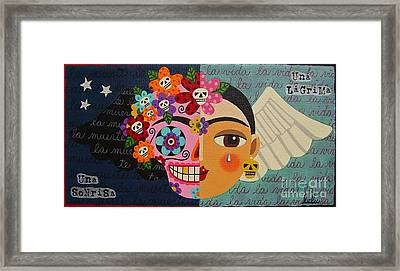 Frida Kahlo Sugar Skull Angel Framed Print by LuLu Mypinkturtle