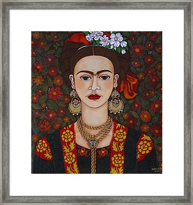 Frida Kahlo With Butterflies Framed Print by Madalena Lobao-Tello