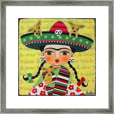 Frida Kahlo With Sombrero And Chihuahuas Framed Print by LuLu Mypinkturtle