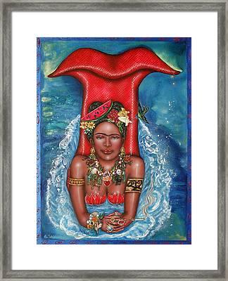 Frida Makes A Splash Framed Print by Ilene Satala