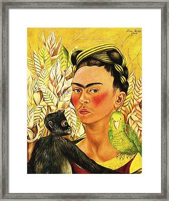 Frida Self Portrait With Chango And Loro Framed Print by Pg Reproductions