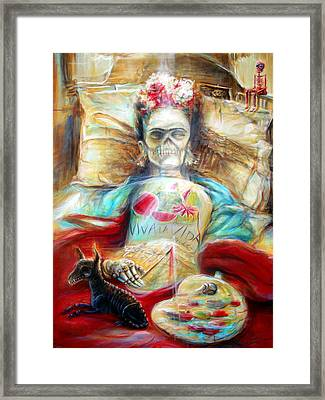 Frida Viva La Vida Framed Print by Heather Calderon