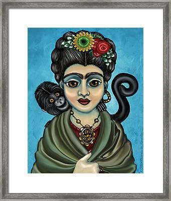 Frida's Monkey Framed Print by Victoria De Almeida