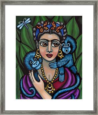 Frida's Monkeys Framed Print by Victoria De Almeida