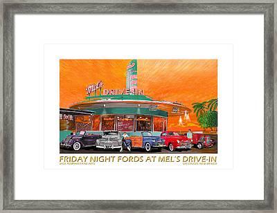 Mels Diner On Friday Night Framed Print by Jack Pumphrey