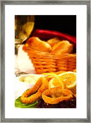 Fried Calamars Framed Print by Roberto Giobbi