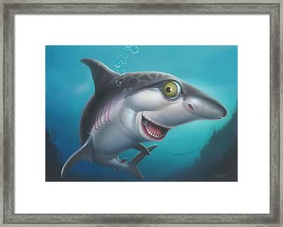 friendly Shark Cartoony cartoon under sea ocean underwater scene art print blue grey  Framed Print by Walt Curlee