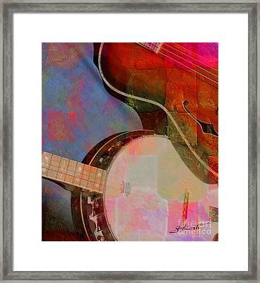 Friends Again Digital Banjo And Guitar Art By Steven Langston Framed Print by Steven Lebron Langston