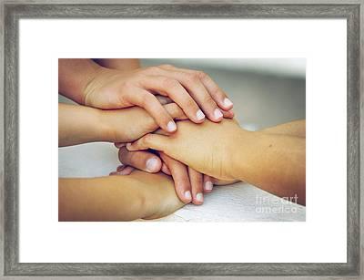 Friends Hands Framed Print by Carlos Caetano
