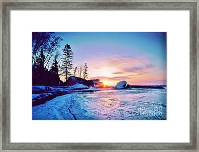 Temperence River Mouth Sunrise - Winter Framed Print by Rory Cubel