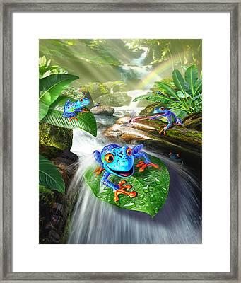Frog Capades Framed Print by Jerry LoFaro