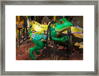 Frog Carrousel Ride Framed Print by Garry Gay