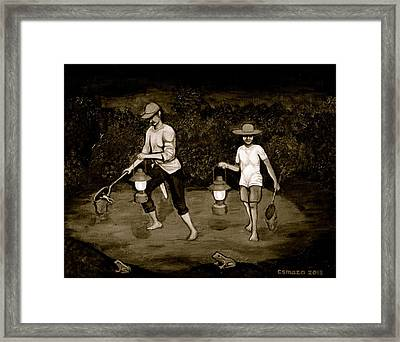 Frog Hunters Black And White Photograph Version Framed Print by Cyril Maza
